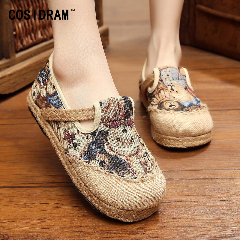 New 2017 Spring Hemp Canvas Women Flats Chinese St...