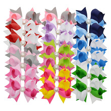 "20 PCS 3"" Grosgrain Ribbon Girls Rhinestone Hair Bows Hair Clips 10 Colors Hair Pin Wholesale Children Cheap Hair Accessories(China)"