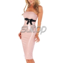 Buy sexy style adult sleeveless sexy rubber latex long pink dresses