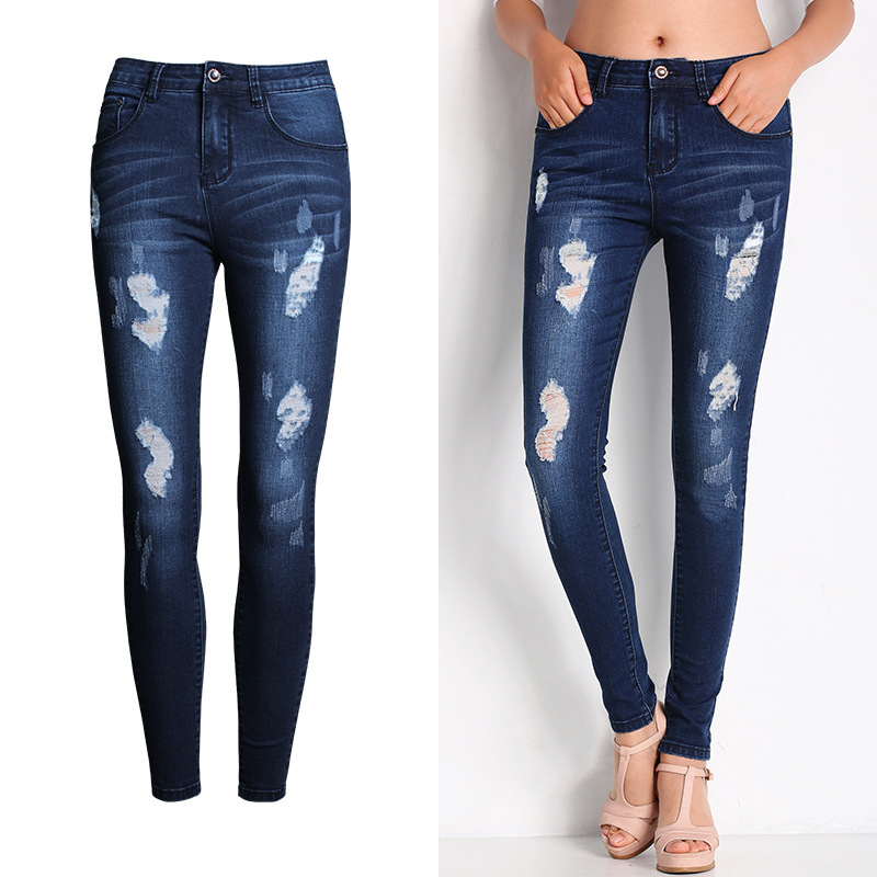 New Arrival Jeans Woman Hot Sexy Jean Pants Woman Ripped Jeans for Women American Apparel Jeans Femme Beading and Holes PantОдежда и ак�е��уары<br><br><br>Aliexpress