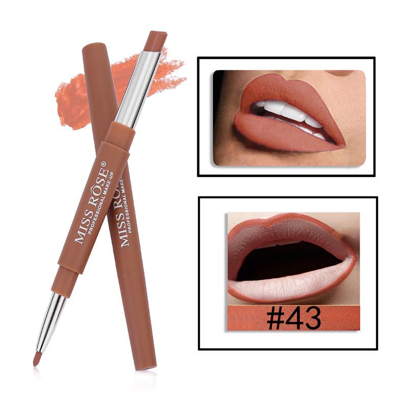43 8 Color Double-end Lip Makeup Lipstick Pencil Waterproof Long Lasting Tint Sexy Red Lip Stick Beauty Matte Liner Pen Lipstick