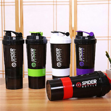 1pc Protein Shaker Blender Mixer bottle  Sports Fitness gym 3 Layers Multifunction 600ml BPA free Shaker Bottle