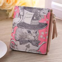 2016 New Design Vintage Marilyn Monroe Cartoon Cat Women Wallets Brand Female Purses Wallet Zebra Carteira Feminina Clutch(China)