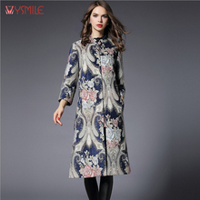 YSMILE Y Chinese Style Women Long Trench Coat Fashion Dobby Autumn Winter Wide Waisted Loose Trench Coats Puls Size 5XL