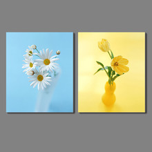 Colorful flower 2pcs Landscape Decoration gold white vase chrysanthemum blue Canvas Painting wall hanging home decor unframed