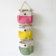 Candy color Series Multi Pocket Door Hanging Wall Storage Bag 1PC DIY Hang Bag Pouch Wall Clothes Bag Organizer Storage Basket