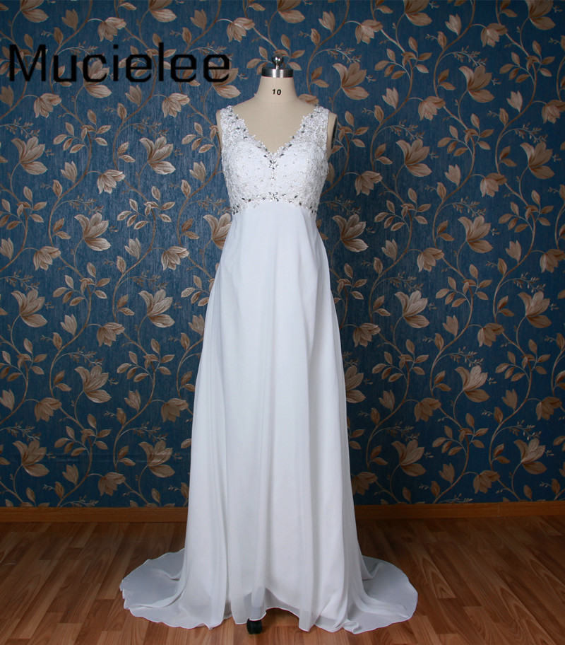 Mucielee Real Sample White Sparkly Beading Beach Wedding Dress Sexy Back Wedding Gown 2017 Bridal Dress Robe De Mariage
