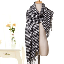 Classic Lady Black White Plaid Scarf Tippet Cappa Wraps Autumn Winter Shawl Lengthen Warm Swallow Gird Wraps Shawl Pashmina