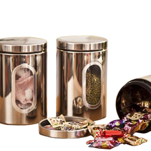SZS Hot 3pcs Stainless Steel Window Canister Tea Coffee Sugar Nuts Jar Storage Set (silver)