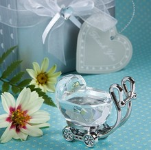 100pcs/lot Baby Shower Favors Choice Crystal Celebrations Baby Carriage Souvenirs(China)