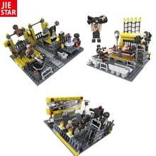 JIE-STAR 279PCS/SET WrestleMania Wrestling Fitness Club Gym 3IN1 Model Wrestler Big Show Figure Building Block Bricks Boy's Toy