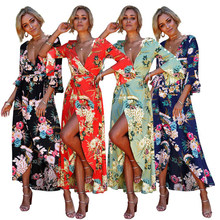 Beach Dress Floral Kimono Holiday Summer Sex Womens V Plunge Ladies Maxi  Wrap(China) b258fd154b55