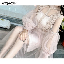 Buy 2018 Summer Flower Splice Hollow Lantern Sleeve Sexy Dress Women Tulle Gauze Perspective Lace Party Dresses Vestidos F96 for $27.02 in AliExpress store