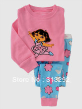 P481, Dora, Baby/Children pajamas, 100% Cotton Rib long sleeve T shirt + pant sleepwear/clothing sets for 2-7 year.