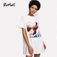 ROMWE Slit Side Figure Print Drop Shoulder Tee Dress 2017 Summer White Girl Print Cute Short Sleeve Dip Hem A Line Dress(China)