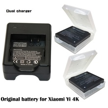 2x Original AZ16-1 Xiaomi Yi 2 4K battery +USB Dual Bateria Charger For XiaoYi 2 4K Xiaomi Yi II action camera Accessories