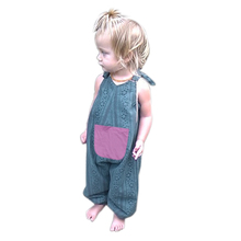 Baby Kids Girls Sleeveless Rompers Big Pocket Suspender Pants Jumpsuit Baby Girls Boys Overalls 1 to 4 Years(China)