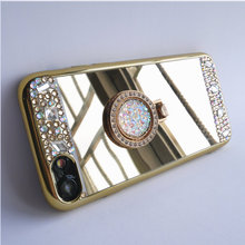 Dir-Maos For Samsung A7 2016 Case A710 Mirror Panel Bling Colorful Diamond Finger Ring Lady Cover Hand Bag Drop Proof Hot Sale(China)