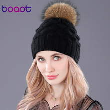 [boapt] fish scale decoration double-deck wool hats women's winter knited caps beanie genuine raccoon fur pom pom for female hat(China)