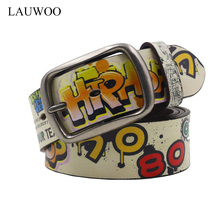 LAUWOO Girl Fashion Cool 3D Printed Belt Genuine Leather Belt Hip-Hop Strap For Jeans Belts Wild High Quality Cinto De Couro(China)