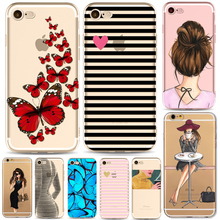 Phone Case For iPhone 7 6 6S Plus 5 5S SE 6Plus Cover Fashion Butterfly Sexy Girl body Transparent Soft Silicon Mobile Phone Bag