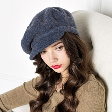 Full Sense of Velvet Full Cap Type Women Peaked Cap Newsboy Cap Octagonal Cap Wool Knit Autumn and Winter Hat D593