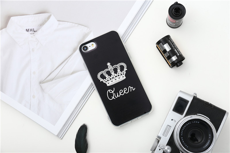 Valentine KING Queen Case for iPhone 6 Case for iPhone 5s 5 Cover Clear Silicone TPU Soft Phone Case for iPhone 8 7 6s Plus Cape 28