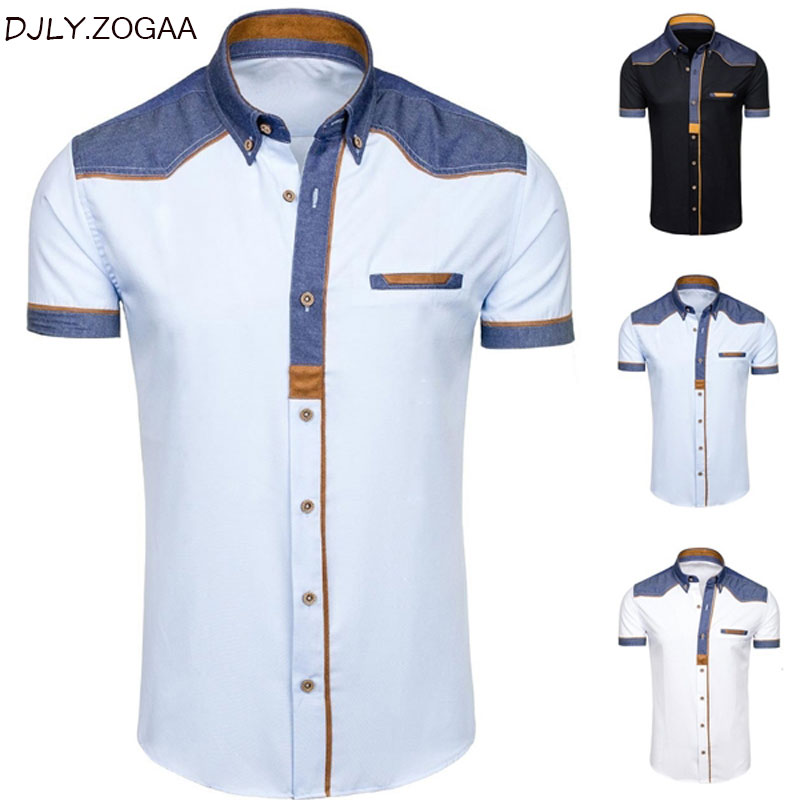 ZOGAA Male Shirts Clothing Short-Sleeve Slim Plus-Size Casual Fashion Cotton Summer Denim title=