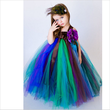 Christmas/Easter Costumes Girls Mesh Bunny Dresses/Ballet Dance Girl Clothes/Performing Colorful Peacock Princess Dress/Children(China)