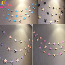 Length 4m New Creative Paper Garland Strings Gold Silver Star Circle Wedding Party Birthday Baby Shower Hanging Decoration(China)