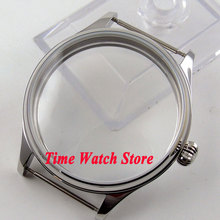 New high quality 44mm pumpkin crown polished stainless steel Watch Case fit 6497 6498 EAT movement C67