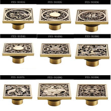 12 style FREE SHIPPING 10*10 cm Vintage Artistic Bronze Bathroom Wet room Square Shower Floor Drain Trap Waste Grate FES-9001G