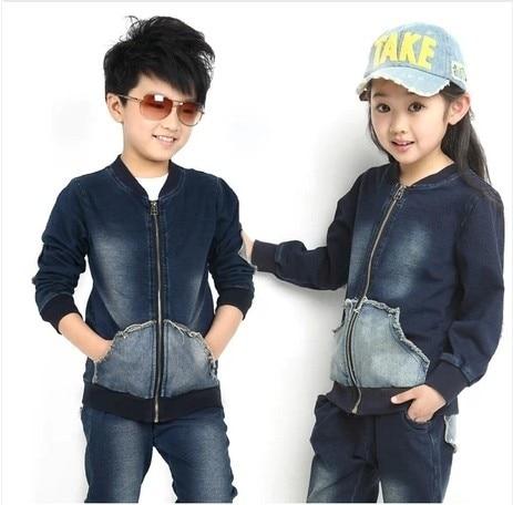 Free shipping Childrens clothing spring/autumn girl/boy 100% cotton sports jacket+pants unisex denim suit<br>