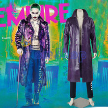 Suicide Squad Joker Cosplay Costume Trench Coat Jacket Batman Halloween Costumes Custom Made(China)