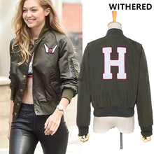 Withered 2017 winter jacket women coat BTS vintage high street gigi same design letter Patch thick Quilting bomber jacket women(China)