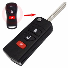 With Sticker 3 Buttons Remote Flip Folding Key Shell Case Fob for Nissan Infiniti Xterra Frontier Muranon PATHFINDER TITAN