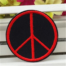 Embroidered iron on patches for clothes cute peace logo deal with it clothing biker patch DIY Motif Applique Free shipping