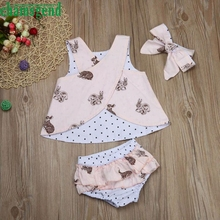CHAMSGEND Girl rabbit three suits Newborn Infant Baby Boy Girl Clothes Bunny Print Tops+Pants+Headband Outfits Set may 23 P30