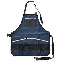 Gardener Apron with Multi Pockets Versatile Tools Apron Storage Carrier Quick-pick Portable Waterproof Black Blue