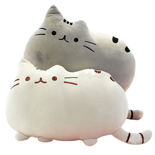 Cute cat shape pillow stuffed toy doll Interesting plush toys For Car backrest decoration(China)