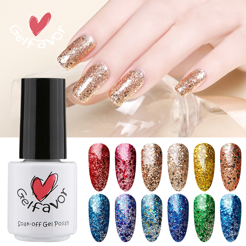 Gelfavor Diamond Series Glitter W01-29 Gel Nail Polish Nail Art UV LED Soak-Off Nail Gel Polish(China (Mainland))