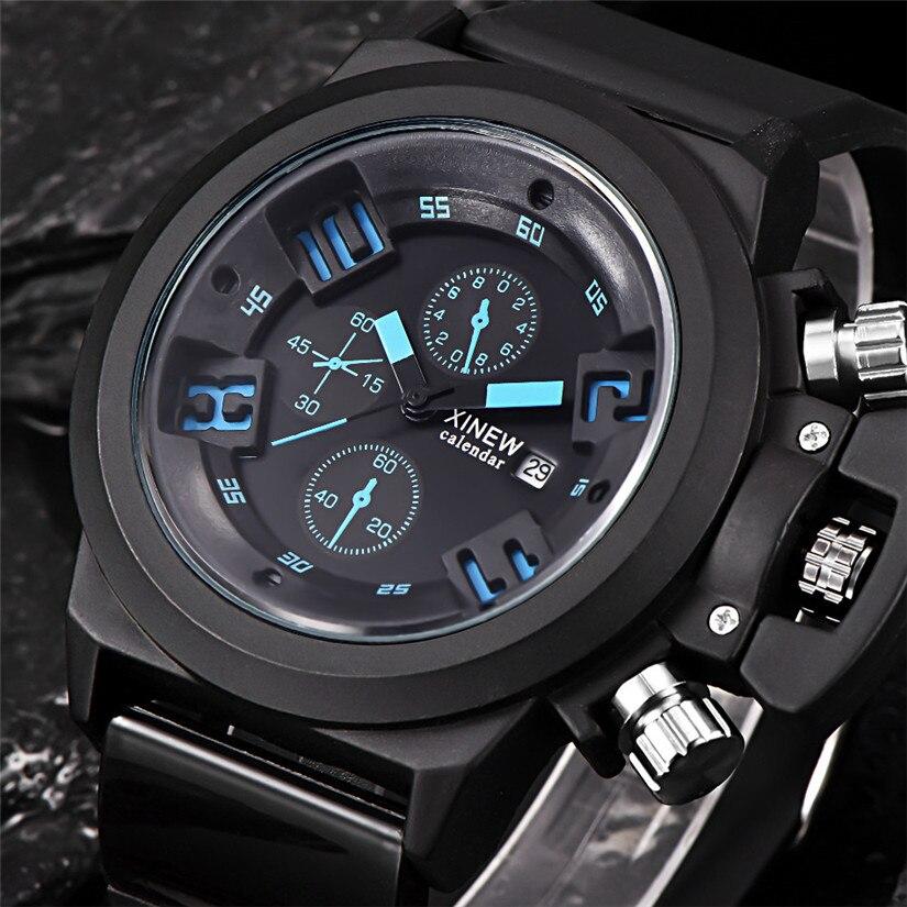 Perfect  Gift Mens Fashion Silica Sport Date Chronograph Analog Quartz Wrist Watch Black Strap Levert Dropship  Sep14<br><br>Aliexpress