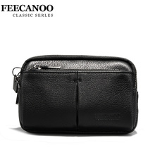 FEECANOO Men Cowhide Genuine Leather Military Cell/Mobile Phone Cover Case skin Hip Belt Bum Purse Fanny Pack Waist Bag Pouch(China)
