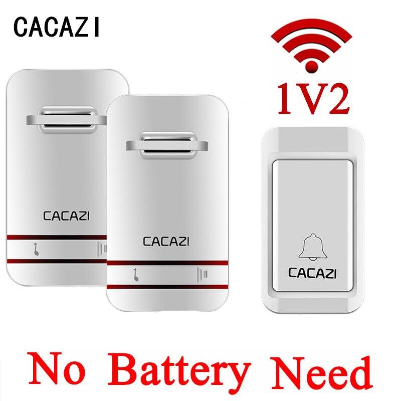 CACAZI EU/US Plug-in No Battery Need Wireless DoorBell Waterproof Self Powered Door Bell With 1 Doorbells Button +2 Receivers<br>
