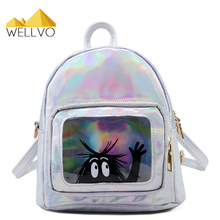 Women Hologram Backpack Silver Laser Small Bags For Teenage Girls Holographic Glitter Mini Daypack Funny Pink Backpacks XA2023C