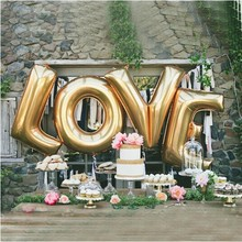 Love Balloons 40 Inch Giant Jumbo Letter Balloons / Wedding / Birthday Party / Baby / Bridal Shower / Gold / Silver / Mylar Foil(China)