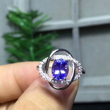 Natural Blue Tanzanite stone Ring S925 Silver Natural Gem Ring Fashion Elegant surround Women's wedding party Rings fine Jewelry