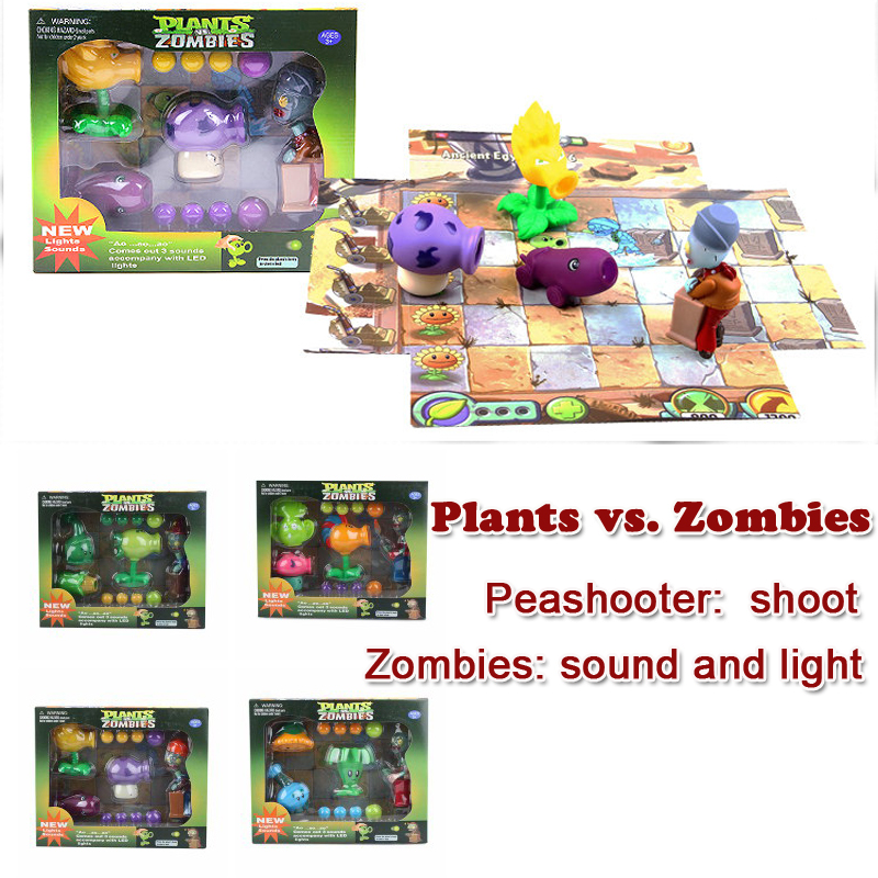 Plants vs Zombies Toys Action Figures 3PCS Peashooters+1PCS Zombie Set with Lights Sounds PVZ Toys for Children Birthday Gift<br>