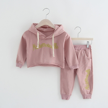 2017 autumn winter girls clothing set kids hip hop clothin for girls boys letter prints children clothing set hoodies kids suit(China)
