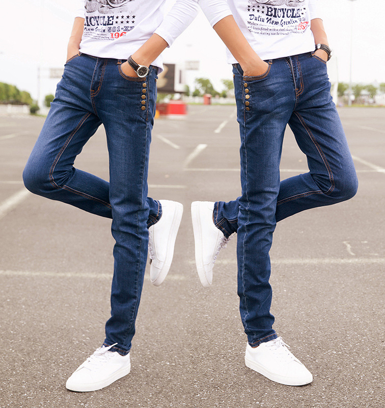 2017 Pencil Slim fitness mens casual jeans Spring Demin trousers Teen feet Slim cotton elastic mens jeans MQ05Одежда и ак�е��уары<br><br><br>Aliexpress